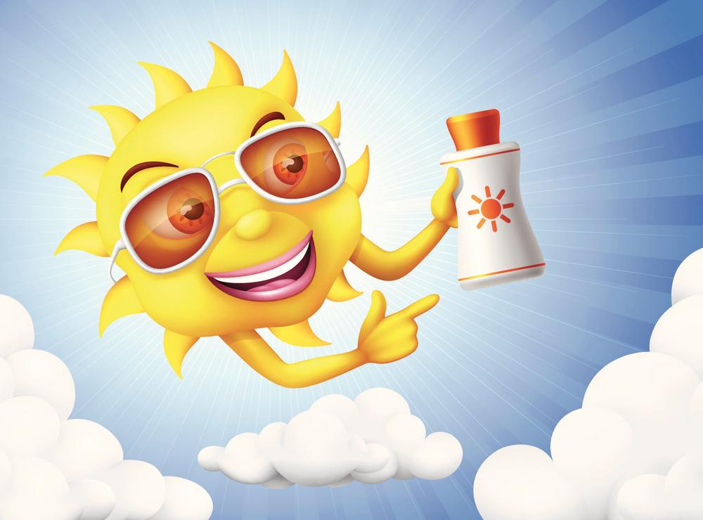 Cartoon sun holding sunscreen